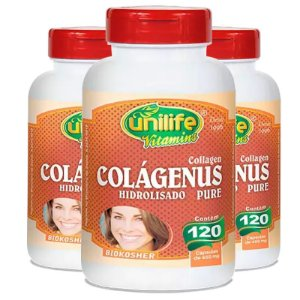 Kit 3 Colágeno Hidrolisado Colágenus 120 cápsulas Unilife