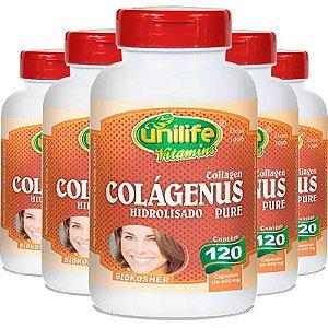 Kit 5 Colágeno Hidrolisado Colágenus 120 cápsulas Unilife