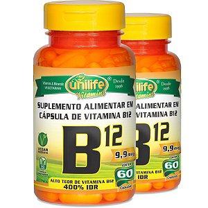 Kit 2 Vitamina B12 Cobalamina 60 cápsulas Unilife