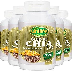 Kit 5 Óleo de Chia 120 cápsulas Unilife