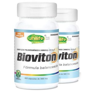 Kit 2 Bioviton Suplemento de Vitaminas e Minerais Unilife 60 caps