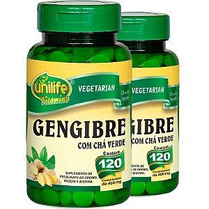 Kit 2 Gengibre com Chá Verde 120 comprimidos Unilife