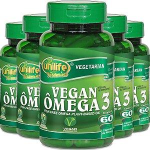 Kit 5 Ômega 3 Vegetal Unilife 60 cápsulas