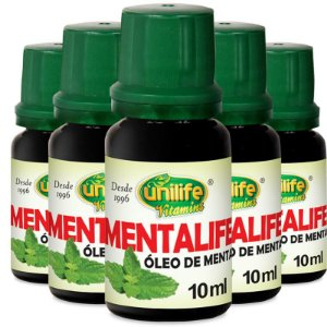 Kit 5 Óleo de Menta Mentalife 10ml Unilife