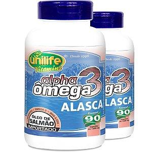 Kit 2 Ômega 3 Alpha Óleo de Salmão 1200mg 90 cápsulas Unilife
