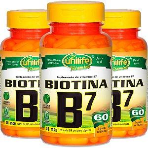 Kit 3 Vitamina B7 Biotina 60 cápsulas Unilife