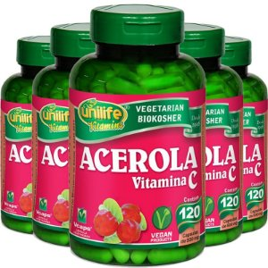 Kit 5 Acerola Vitamina C 120 cápsulas Unilife
