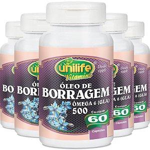 Kit 5 Óleo de Borragem 700mg Unilife 60 cápsulas