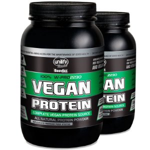 Kit 2 Vegan Protein 900g Proteína vegetal Unilife Chocolate
