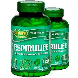 Kit 2 Spirulina 500mg Espirulife Unilife 120 cápsulas
