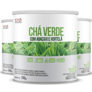 Kit 3 Chá Verde com Abacaxi e Hortelã 200g Chá Mais