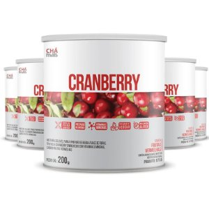 Kit com 5 Cranberry Solúvel 200g da Chá Mais Sabor Frutas Vermelhas