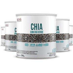 Kit 5 Chia com Chá Verde 200g da Chá Mais Sabor Frutas Negras