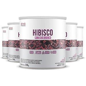 Kit 5 Solúvel de Hibisco com Chá Branco 200g da Chá Mais