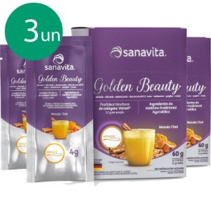 Kit 3 Golden Beauty Super food golden milk 60g Sanavita