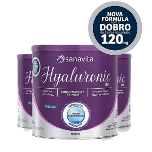 Kit 3 Hyaluronic ácido hialurônico Skin da Sanavita com 270g