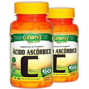 Kit 2 Vitamina C Ácido Ascórbico 60 cápsulas Unilife