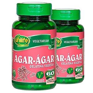 Kit 2 Ágar Ágar Gelatina Natural 60 cápsulas Unilife