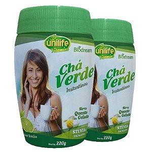 Kit 2 Chá verde Sóluvel 220g sabor Limão Unilife