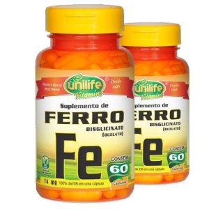 Kit 2 Ferro Quelato FE 14mg 60 cápsulas Unilife
