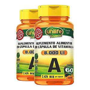 Kit 2 Vitamina A Retinol 60 cápsulas Unilife