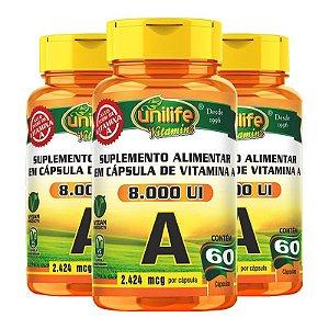 Kit 3 Vitamina A Retinol 60 cápsulas Unilife