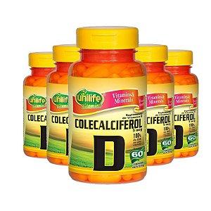 Kit 5 Vitamina D Colecalciferol 60 cápsulas Unilife