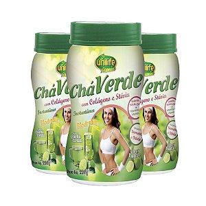 Kit 3 Chá verde com colágeno e stévia 220g Limão Unilife