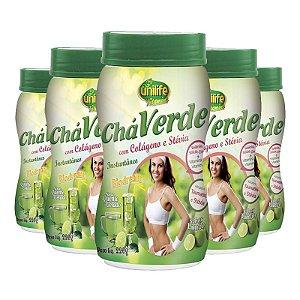 Kit 5 Chá verde com colágeno e stévia 220g Limão Unilife