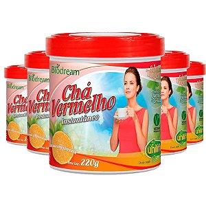 Kit 5 Chá vermelho sóluvel 220g sabor Tangerina Unilife