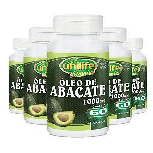 Kit com 5 Óleo de abacate 60 cápsulas Unilife