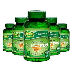 Kit 5 Oligo-Fos Frutooligossacarídeos 120 cápsulas Unilife