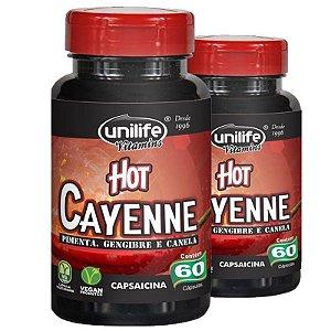 Kit 2 Pimenta Cayenne Hot Pimenta,Canela e Gengibre Unilife 60 Cápsulas