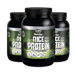 Kit 3 Rice Protein 1kg Proteína vegetal Unilife natural