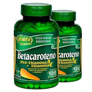 Kit 2 Betacaroteno Pró-Vitamina A 120 cápsulas Unilife