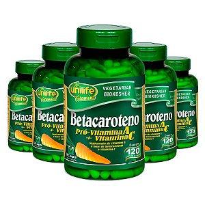 Kit 5 Betacaroteno Pró-Vitamina A 120 cápsulas Unilife