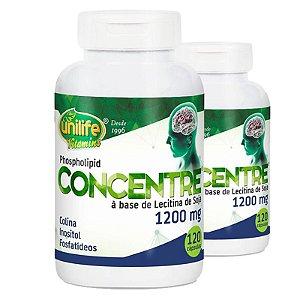 Kit 2 Oléo de lecitina de soja Concentre 120 cápsulas Unilife