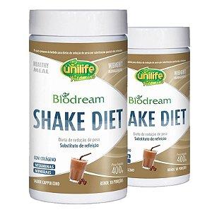 Kit 2 Shake Diet Biodream 400g Sabor Cappucino Unilife