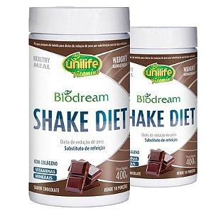 Kit 2 Shake Diet Biodream 400g Sabor Chocolate Unilife