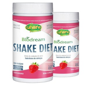 Kit 2 Shake Diet Biodream 400g Sabor Morango Unilife