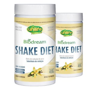 Kit 2 Shake Diet Biodream 400g Sabor  Baunilha Unilife