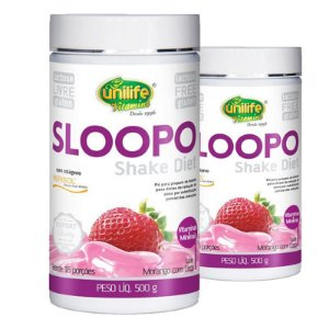 Kit 2 Sloopo Shake Diet com colageno 400g Sabor Morango Unilife