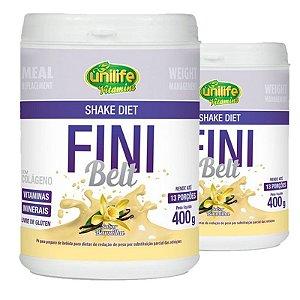 Kit 2 Shake Diet com Colágeno Fini Belt Unilife 400g Baunilha