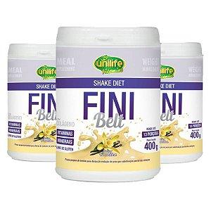 Kit 3 Shake Diet com Colágeno Fini Belt Unilife 400g Baunilha