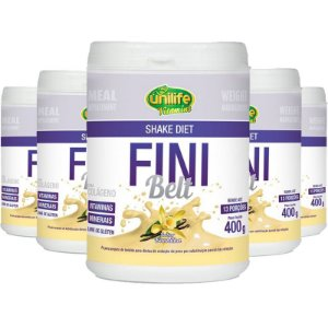 Kit 5 Shake Diet com Colágeno Fini Belt Unilife 400g Baunilha