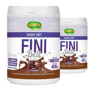 Kit 2 Shake Diet com Colágeno Fini Belt Unilife 400g Chocolate