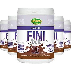 Kit 5 Shake Diet com Colágeno Fini Belt Unilife 400g Chocolate