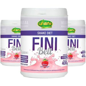 Kit 3 Shake Diet com Colágeno Fini Belt Unilife 400g Morango