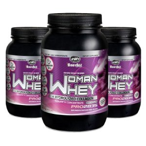 Kit 3 Whey Protein Woman c/ Colageno 900g Chocolate Unilife