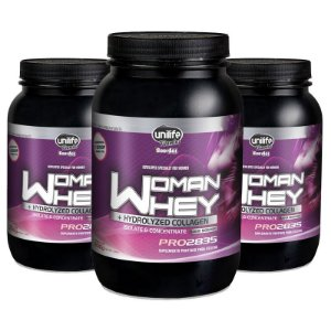 Kit 3 Whey Protein Woman c/ Colageno 900g Morango Unilife